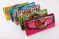 Women Wallets Card Holders Long-Length Camellia FlowerWallets For Women Lady's Clutch Bags 8 Colores Free Shipping