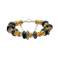 Fashion Beautiful European Style Black Murano Glass Beads Golden Charm Beaded Silver Plated Bracelet JewelryCJ31