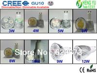 High Power Ultra Bright GU10 CREE Dimmable LED spot light lamp bulb 3W 4W 5W 6W 8W 10W 12W Led lamp 10pcs