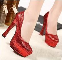 2013 xiaxin paillette fashion wedding shoes 13cm paillette elegant ultra high heels single shoes women's shoes