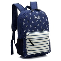 13 nylon stripe navy style anchor print backpack male female student school bag casual backpack