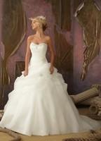 Free shipping New Organza Ivory White Wedding Dresses Stock Size:6 8 10 12 14 16