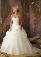 Free shipping New Organza Ivory White Wedding Dresses Stock Size:6 8 10 12 14 16