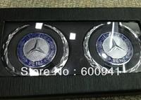 1 PAIR Benz 3D Car Motor Auto Metal Fender Side Pillar Chrome Sticker Emblems Badges