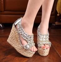 2013 luxury pearl rhinestone cane wedges sandals 13 rhinestone pearl cool boots