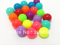 Hot Sale 20mm 100pcs/lot mixed  neon florescence acrylic solid beads for chunky jewelry making