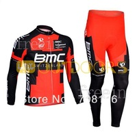 Free Shipping 2013 RED BMC Bike bicycle clothing Team cycling Man's outdoor sport riding suit Long sleeve Jersey+Bib Pants