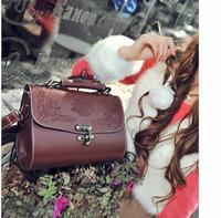 2013 women's handbag lacquer vintage carved women's handbag box tote bags