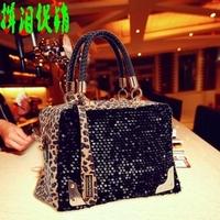 Cat bag  leopard print paillette bag shoulder bag handbag messenger bag women's handbag