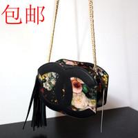 women's spring handbag vintage oil painting print tassel bag