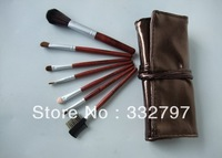 2012 New Arrival 7pcs Deluxe Professional Pink Makeup Brush Set With Case Cosmetic Brushes Free Shipping