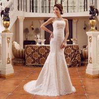 On Sale New 2014 Fashion Fish Tail Short Trailing Tube Top Slim Wedding Dress Bandage Lacing Bridal Wedding Ball Dresses