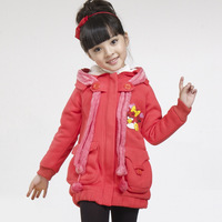 1 children's clothing female winter child 2012 clothes child outerwear baby thickening plus velvet sweatshirt cotton-padded