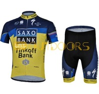 Free Shipping 2013 New Styles SAXO BANK Yello Team Cycling Jerseys Bike Jersey+short .Man's outdoor sport riding suit