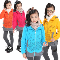 Child winter plus size thickening outerwear winter female child casual top cartoon zipper sweater BALABALA