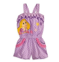 Free Shipping(5pcs/lot)2013 Brand New Girl's Overalls Fashion Snow White Princess One-piece Rompers Lilac suspender trouser