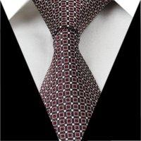 JS21 Dark Red Coffee Checked 3.15'' 100%Silk Classic Jacquard Man's Tie Necktie