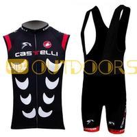 Free Shipping 2013 New Styles Castelli Black Sleeveless Team Cycling Jerseys Bike Jersey+bib short .Man's outdoor sport riding