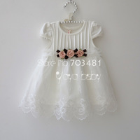 Free shipping summer new arrival baby girl's princess dress flowers on it two color to choose