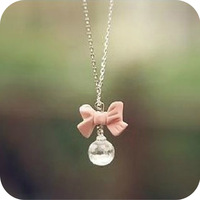 Free shipping Beautiful  accessories sweet pink bowknot round ball water drop necklace