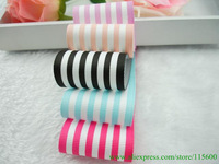1-1/2'' 50 yards blue,black,peach blossom stripe printed ribbon,grosgrain ribbon for packing /making hair accessories