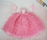 Free Shipping Dolls Party Dress Gown Skirt Fashion Clothes For Barbie Doll Pink Wedding Dress +First Yarn+Gloves