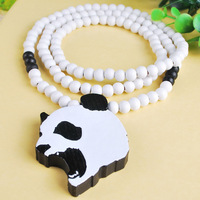 "NET115 Good Quality Hip Hop Jewelry 36"" Long Chain Wood Panda Head Costume Pendant Necklace for European& USA Countries"