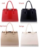 New Fashion Girls Stylish Women Satchel Handbag Portfolio Clutch Shoulder Bag Shiny PU Leather