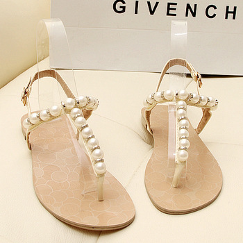 2013 open toe summer fresh pearl sandals rhinestone flat sandals flats shoes for women,SHO2040