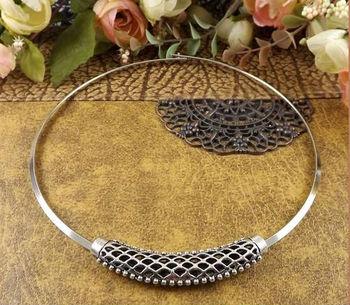 NR122 Bohemian Hollow Pendant Tibetan Silver Torques Choker Vintage neckКружево Jewelry ...