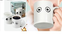 Free Shipping 4pcs/lot Creative mark cup It just wake up eyes color changing mugs, creative fashionable color cup