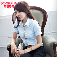 Hot-selling white blouses women's short-sleeve working clothes OL women's outfit slim shirt free shipping