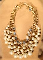 Fashion Imitation Pearl Choker Statement Necklace Gold Chain Chunky Statement Fashion Jewelry Free Fhipping