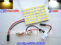 4 X Car Led reading lights, 7.6W high power brightness, warm white and white with 48pcs 5050SMD, free shipping!