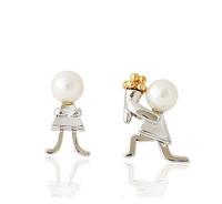 5PCS/Lot Free Shipping Silver Plated White Pearl Boy Girl Romance Love Story Asymmetrical Proposal Stud Earring