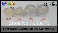 DHL FEDEX ship 100pcs High Brightness Epistar SMD5050 Transparent Globe Lamp E27 E14 B22 5W 7W 9W 12W 85V-265V Bubble ball bulb