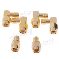 SMA Male to SMA Female Right Angle + SMA Adapter SMA Female to SMA Female + SMA Female to SMA Female Right Angle