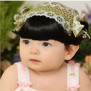 Child infant headband hair accessory formal dress female child wig fringe