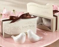 "Love Birds in the Window"" Salt & Pepper Ceramic Shakers,Wedding Party Favor"