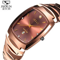 Classical JSDUN Rose Gold Tungsten Steel Bracelet Analog Date Fashion Quartz Man Casual Dress Watch Women Dress Watches 8608