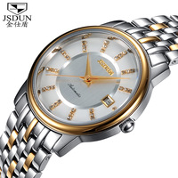 JSDUN Fully-Automatical Mechanical Stainless Men Full Steel Watch Vintage Luxury Relogio Skeleton Mechanical Hand Wind Watch8699