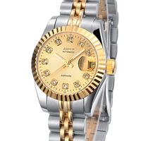 JSDUN Fashion Fully-Automatic Mechanical Luminous Watch Vintage Date Display Wrist Watch Women Dress Rhinestone  Watches 8737
