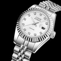 JSDUN Classical Full Steel Strap Sapphire Women Dress Rhinestone Watches Fashion Analog Mechanical Self Wind Wrist Watch 8737