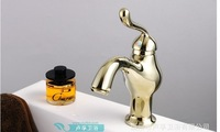 Free Shipping Luxury golden Kitchen Faucets for Vegetable Wash Basin Hot and cold taps golden chrome