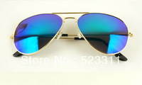 2013 New Fashion Colorful Sunglasses Brand Mens Sunglasses Womens Sun glasses Gold frame blue Mirror lens Model XN-5