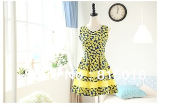 Free shipping 2013 New Fashion Sleeveless Bow Pattern Dress,Chiffon evening dress,Spring summer autumn sexy Casual lady dress