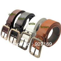 Free Shipping Unisex Hot Fashion Solid color  Cowskin leather men's belt corium belt 4 colors black,brown,coffee,white