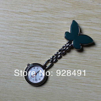 Butterfly Nurse Watches+Silicon Pocket & Fob Watch+Clip+Brooch Quartz Watches Nice&Cheap 2pcs/lot Different Color Free Shipping