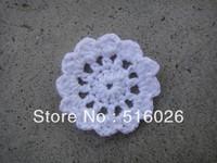 wholesale 50pcs /lot 5cm crochet doily, cup mat, round motif doily, wheel, Crochet Applique headband flowers boutique handcraft