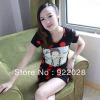 Free Shipping high quality Women's 2013 summer tight t-shirt short-sleeve slim casual shirt